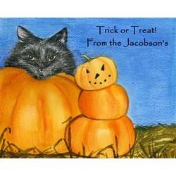 Black Cats & Pumpkins Fine Art Print