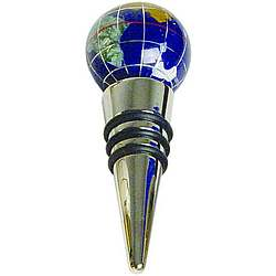 Lapiz & Silver Globe Bottle Stopper
