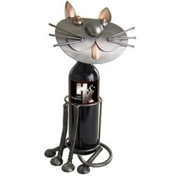 Handmade Sitting Cat Recycled Metal Wine Caddy