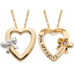 Tied to You April Birthstone Heart Necklace