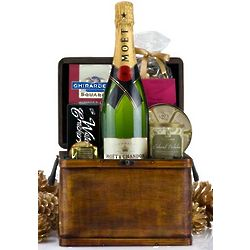 Champagne Treasure Chest Gift Basket