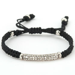 Pave Crystal Bar Bracelet with Black Macrame