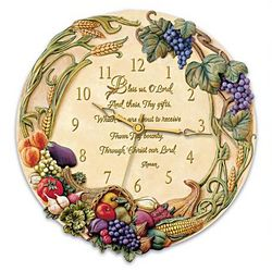 Bless Us, O Lord Floral Fruit Design Clock