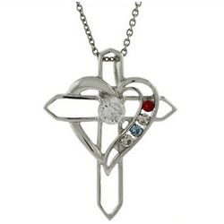 Four Birthstonetone Heart and Cross Sterling Silver Pendant