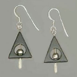 Hematite Triangle Earrings