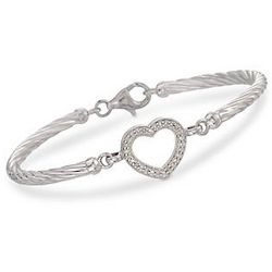Diamond Heart Cable Bracelet In Sterling Silver