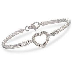 Diamond Heart Cable Bracelet In Sterling Silver