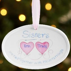 Personalized Sisters Friends Heartstrings Ornament