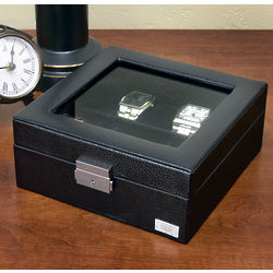 Personalized Black Leather Valet Box