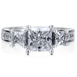 Sterling Silver Princess Cut Cubic Zirconia 3-Stone Ring