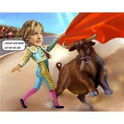 Bullfight Caricature Art Print