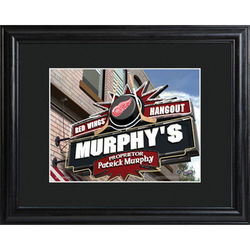 Personalized NHL Pub Print with Wood Frame