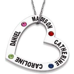 Sterling Silver Family Name and Birthstone Heart Necklace
