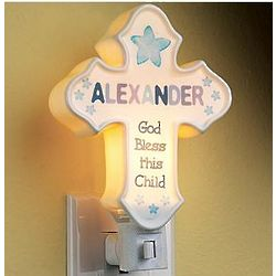 Boy's Personalized Porcelain Cross Nightlight