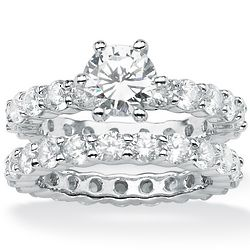 Round Cubic Zirconia Platinum-Plated Bridal Engagement Ring