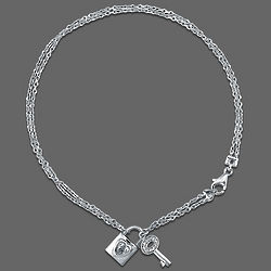 Sterling Silver Anklet with Lock and Key Charms