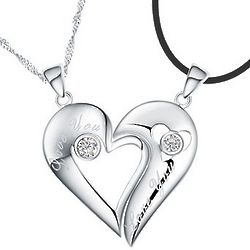 Engravable Sterling Silver Half Heart Relationship Necklace Set
