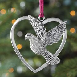 Solid Pewter Dove Christmas Ornament