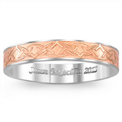 Women's Engraved Titanium and Rose Gold Celtic Knot Wedding Band