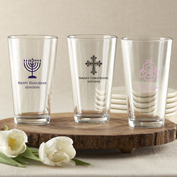 Personalized Pint Glass with Religious Design