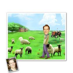 His Irish Farmland Dream Caricature Framed Art Print