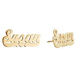Personalized Gold-Plated Stud Earrings