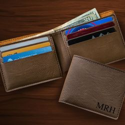Wallet in Dark Brown Leatherette with Personalized Monogram