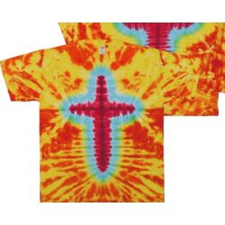 Orange and Yellow Christian Cross Tie Dye Shirt