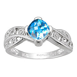 Diamond & Blue Topaz Ring in 14K White Gold