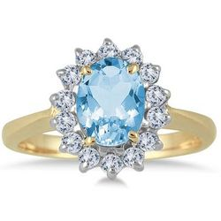 Blue Tpopaz and Diamond Ring in 14k Yellow Gold
