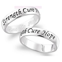 Sterling Silver Breast Cancer Awareness Sentiment Ring