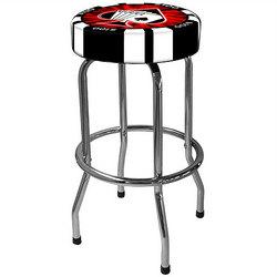 Poker Chip Backless Chrome Barstool