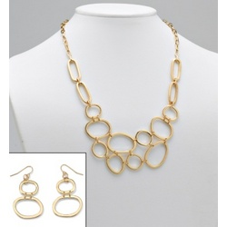 14k Gold-Plated Multi-Circle Geometric Necklace and Earrings