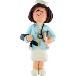 Female Nurse with Brown Hair Personalized Ornament