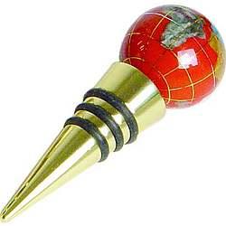Red Jasper & Brass Globe Bottle Stopper