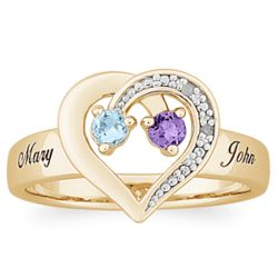 Gold Over Sterling Couples Birthstone and Diamond Heart Name Ring