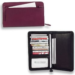 Zippered Leather Credit Card Wallet