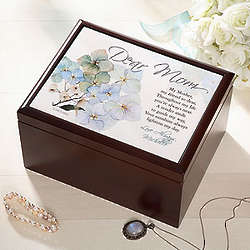 Personalized Wood Jewelry Box with Dear Mom Design