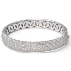 Simulated Diamond 8 Carat Pave Bangle Bracelet