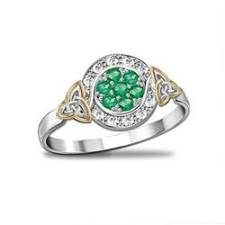 Trinity Knot Emerald and Diamond Ring