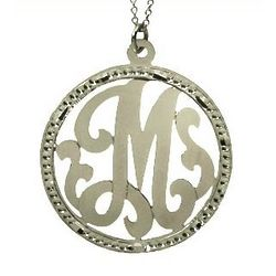 Sterling Silver Small Round Single Initial Pendant