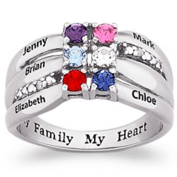 Family Birthstone and Name Ring with Diamond Accents