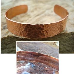 Secret Message Hammered Wide Cuff Copper Cuff