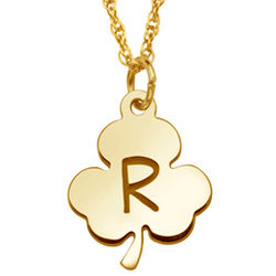 10K Gold Engraved Initial Clover Pendant