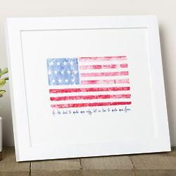 Battle Hymn Watercolor Flag Framed Print