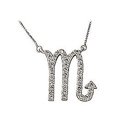 Diamond Scorpio Zodiac Pendant in 14K White Gold