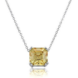 Canary Asscher CZ Sterling Silver Solitaire Pendant Necklace