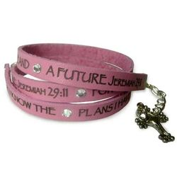 For I Know the Plans Leather Wrap Bracelet