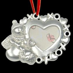 Personalized Snowman and Heart Photo Frame Ornament