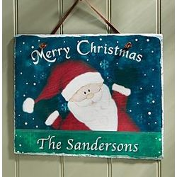 Merry Christmas Santa Slate Plaque